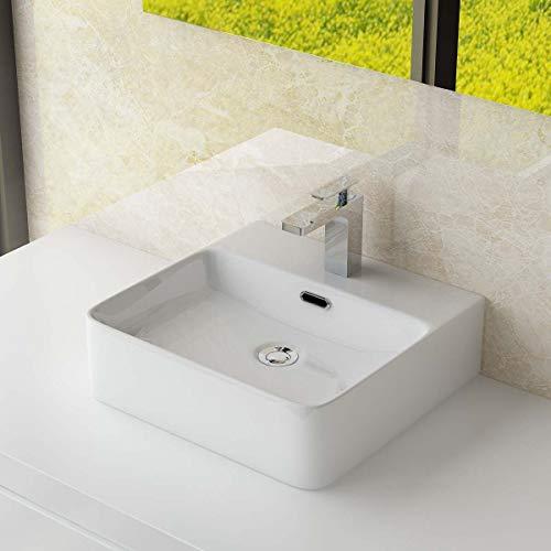 Waschbecken24 KERAMIK AUFSATZWASCHBECKEN/HÄNGEWASCHBECKEN WASCHTISCH WASCHSCHALE WASCHPLATZ FÜR BADEZIMMER GÄSTE WC (42x42x13 cm)