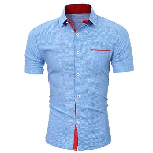 Yvelands Camisa de Solapa de Mezcla de algodón Hombres Camisa de Costura de Color de Manga Corta, Fina, con Costuras en Blanco y Negro ¡Blusa Superior, liquidación económica! (Azul, M)
