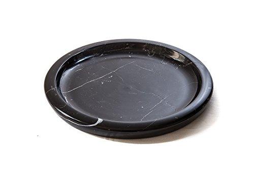 Yuchengstone Bol en marbre classique et élégant - Plat - Noir - Unique - Diamètre : 32/3 cm - 6 kg