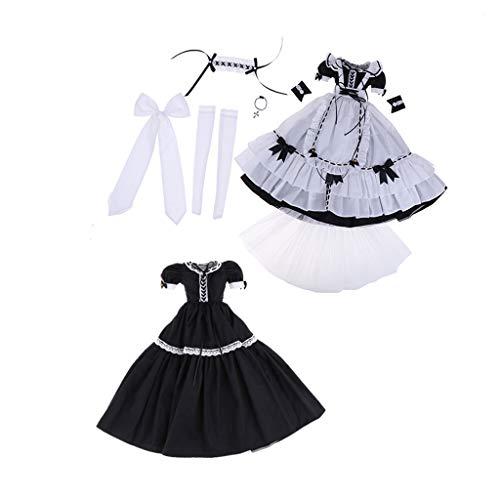 FLAMEER Fashion Puppe Uniform Dienerin Kostüm Kleidung Set für 1/3 BJD Mädchenpuppe Dress up Zubehör - E