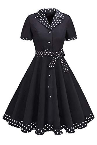 MisShow Damen Vintage 50er Rockabilly Kurzarm Swing Kleider Partykleid Polka Dots Kleid Schwarz M