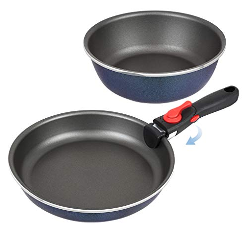 SHINEURI Japan Designed Removable Handle Titanium Nonstick 3 Pieces Frying Pans Set - 9.5 Frying Pan 8 inch Deep pan for Oven, Induction, Gas, Electric & Stovetops Dishwasher Safe