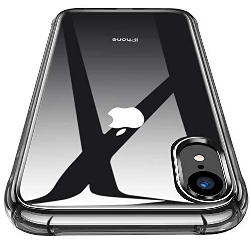 CANSHN Cover Compatibile iPhone XR, Custodia Trasparente per Assorbimento degli Urti con Paraurti in TPU Morbido [Protettiva Sottile] per iPhone XR da 6,1 Pollici - Traslucido Nero