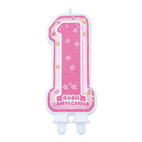Big Party- Candelina Maxi Sagomata 1° Primo Compleanno, Colore Rosa, 73414