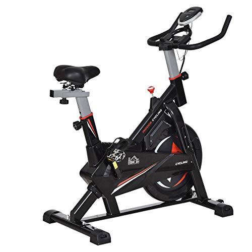 homcom Cyclette Bicicletta per Allenamento in Acciaio Nero con Supporto per Cellulare, Monitor LCD, Manubrio e Resistenza Regolabile Volano 10kg