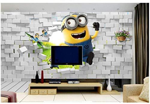 Papel Tapiz Mural Foto Papel Tapiz de Minions Personalizado Niños Niños Niñas Dormitorio Papel Tapiz fotográfico de Dibujos Animados en 3D Divertido Murales Impermeables Sala de Estar Decoración del
