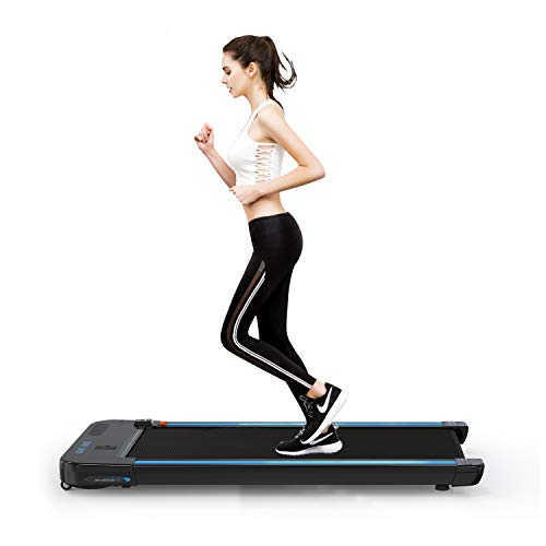 2WD Treadmill Bluetooth 440W Motor, Electric Walking Machine Built-in Speakers, Adjustable Speed, LCD Screen & Calorie Counter, Ultra Thin and Silent, Fitness for Home/Office