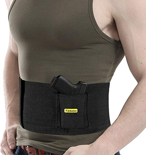 Haofy Belly Band Holster, Elastic Gun Holster, Pistol & Mag Pouch Holster for Concealed Carry with Dual Magazine, Suitable for Men and Women, One Size