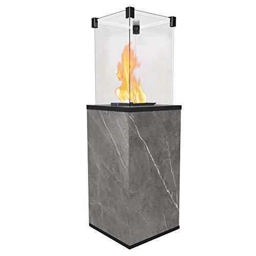 KRATKI Gaskamin PATIO MINI | 1366 x 427 mm | Außenkamin aus Stahl | Outdoor Kamin mit manueller Steuerung | Gasheizgerät ideal für Terrassen, Garten als Wärmelampe & Gartenkamin | Naturali Pietra Grey