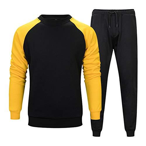 Men's Sweatshirt Men Sportswear Long Sleeve Round Neck Loose Elastic Fiber Breathable Men Sports Shirt New Cotton Blend Jogging Sports Men Sportswear A-Black. M