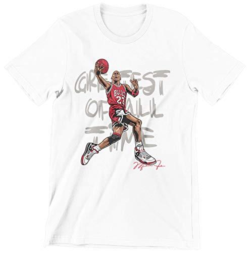 Jordan Hipster G.O.A.T Retro Urban Streetwear Graphic Shirt (Jordan Fire Red 4s Goat FireRed/White, Small)