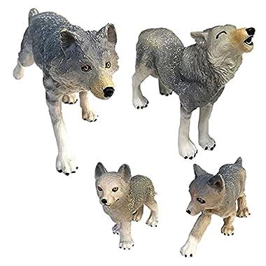 Almencla Simulation Plastic Siberian Wolf Animal Model Toy Miniature Figurines Zoo Pack Kids Education Birthday Gifts