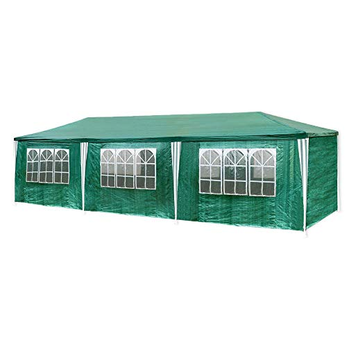 WYJW 3m x 9m marquee dome tent made from polyethylene, with steel pipes, 6 removable side panels and 2 entrances, waterproof