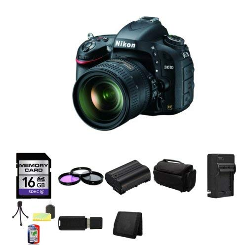 Nikon D610 24.3 MP Camera with 24-85mm Lens International Version Bundle with Accessories (9-Items)
