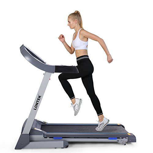 Lontek T600 Easy Assembly Folding Electric Treadmill with Inclines Motorized Running Machine with MP3 Bluetooth App and Heart Rate Monitor