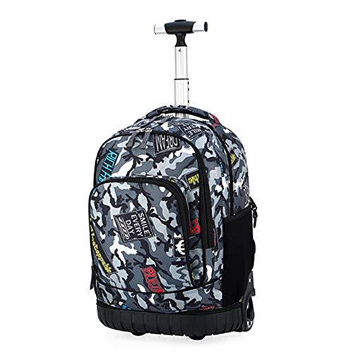 Rolling rugzak multifunctionele Rolling School Book Pack trolley tas bagage tas voor scholieren en volwassenen reisboeken Galaxy 19-inch,E