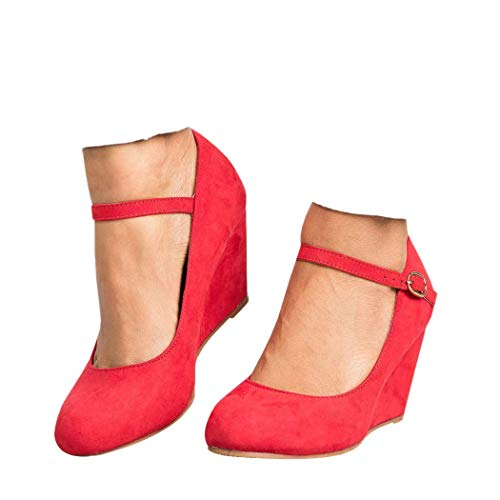 Womens Wedge Pumps Mary Jane Ankle Strap High Heel Round Toe Office Work Wedding Shoes Red