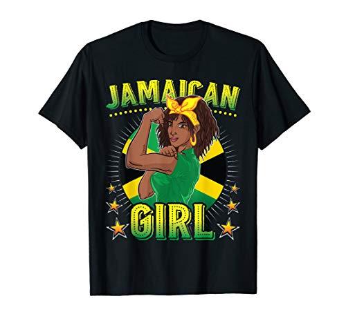 Jamaican Girl Queen Empress Rastafari Reggae Jamaica Flag T-Shirt