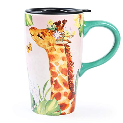 Minigift MN10004 Travel Cup,Tea Coffee Mug Beautiful Ceramic Cups with Lid Flowers and Birds Handmade Milk Mug 16oz for Women Men Kids (Giraffe)