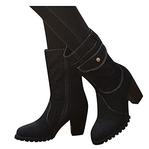 Dasongff Damen Stiefeletten Cowboy-Stiefel Klassischer Römische Schuhe Einfarbig Halbhohe Stiefel Mit Blockabsatz Vintage Ankle Boots Spitz Stiefel Kniehohe Booties Party Heels Pumps Schuhe