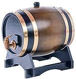 JLDN 3L Barril de Vino, Barril de Madera de Roble Envejecimiento Barril con Grifo con Filtro Revestimiento de Papel de Aluminio para Vino, licores, Cerveza...