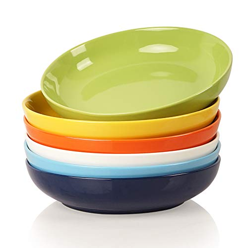 Sweejar Ceramic Pasta Bowls Set, 22 OZ for Salad, Soup, Cereal, Set of 6(Multicolour)