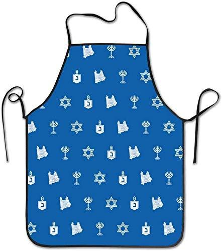 Hanukkah Motif Blue Aprons Unisex waterproof Durable Locked Edge Rope Adjustable Easy Care for men and women Cooking Apron