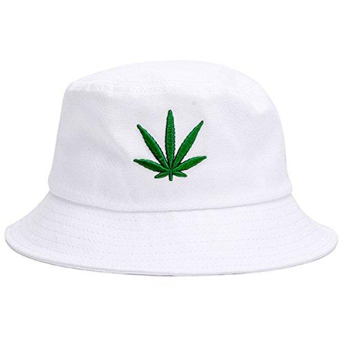 Bucket Hat Cap Marihuana Weed Leaf Cannabis – faltbar Snapback Herren Damen - Weiß - Einheitsgröße