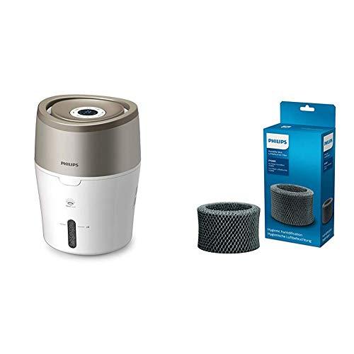 Philips HU4803/01 Luftbefeuchter (bis zu 25m², hygienische Nano-Cloud-Technologie, leiser Nachtmodus, Automodus) weiß und grau metallic mit Ersatzfilter FY2401/30