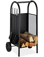 Relaxdays Brandhoutwagen met bestek, brandhoutkar staal, openhaardset 3-delig, schep, bezem- en pookhaken, zwart, 81 x 42 x 37 cm