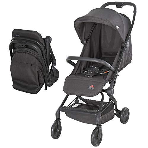 HOMCOM Silla de Paseo Plegable Ligero Cochecito para Bebé a partir 6 Meses Asiento Reclinable Cinturón de Seguridad Toldo Extraíble 44,5x93,5x105cm Gris