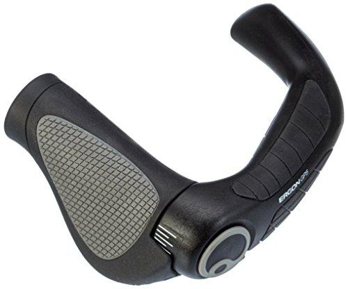 Ergon – GP5 Fahrradgriff | Ergonomisch mit extra-langem Bar-End | Trekking, Touring | Gripshift | Small | Schwarz/Grau