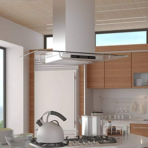 Dunstabzugshaube für Küche, 180 W, Touchscreen-Dunstabzugshaube mit LCD-Display, Edelstahl und Glas, Saugleistung 750 m³/h, Lärm ≤65 dB, 90 x 54 x 59-106 cm