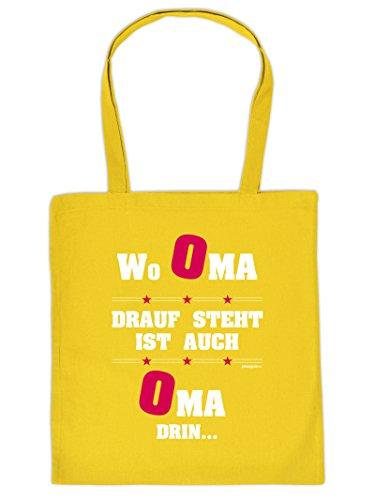 Lustiges Geschenk für Oma Tasche : Oma/Wo Oma Drauf Steht - Bedruckte Baumwolltasche Farbe: gelb