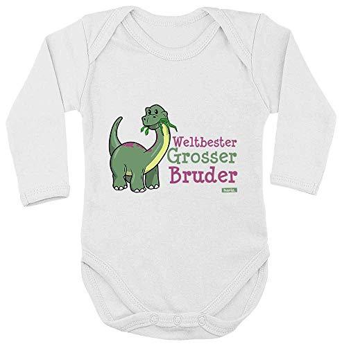 HARIZ Body de manga larga para bebé con diseño de dinosaurio del mejor hermano y tarjetas de regalo con diente de leche, color blanco, 50-56