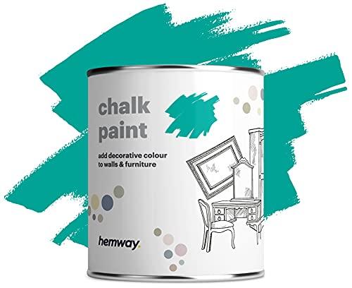 Hemway Matt Shabby Chic Kreidefarbe 1L Tropisch Blau geeignet für Innenmöbel, Kleiderschränke, Regale, Tische und Stühle, schnell trocknende Kreidefarbe, glatte Oberfläche