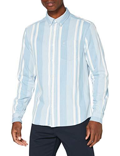 Wrangler LS 1PKT BDOWN Shirt Camisa Casual, Azul (Light Indigo X4e), XL para Hombre