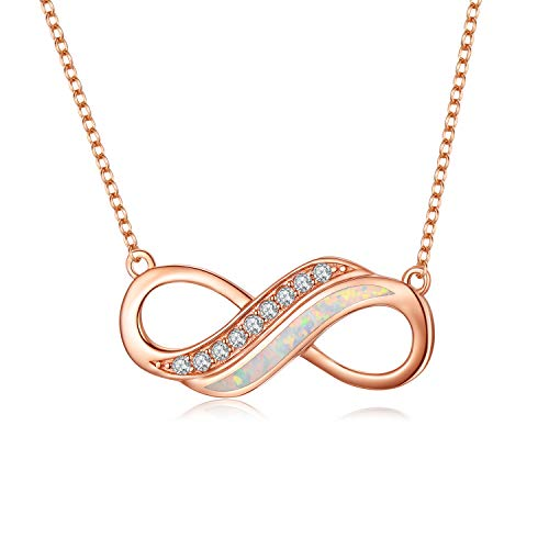 LONAGO Infinity Necklace 925 Sterling Silver I Love You Infinity Symbol with Created White Opal Necklace Jewelry for Women
