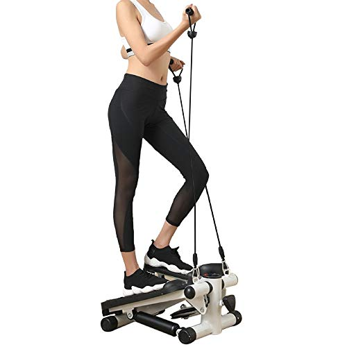Real Relax Mini Stair Stepper with Resistance Bands and LCD Monitor, Adjustable Fitness Exercise Equipment by Real Relax