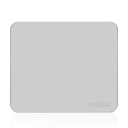 Perixx DX-3000LA, Alfombrilla Para Raton de Aluminio Gaming - 320x270x2mm Tamaño - Base de goma antideslizante - Especial tratada textural con chorro de arena para control preciso - Plata