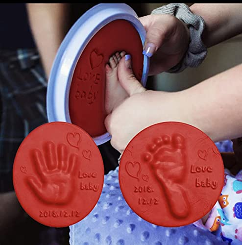 Kit de huella de niño y animales domésticos de arcilla de marco idea regalo para recuerdos, regalo perfecto para niño, niña, bautizo, día de la madre y nacimiento (rojo)