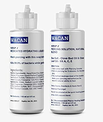 WACAN FAST-HEALING PIERCING AFTERCARE SOLUTION with Medicated Soap. Two-step for Nose, Ears, Nipples, Belly & All Body Parts | Saline Healing Solution with Sea Salts, Clove And Vitamins 4 Oz
