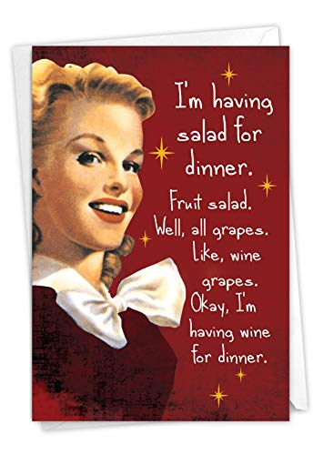 NobleWorks - Funny Happy Birthday Card with Envelope - Congrats Greeting Card, Birthday Fun - Salad for Dinner C9357BDG