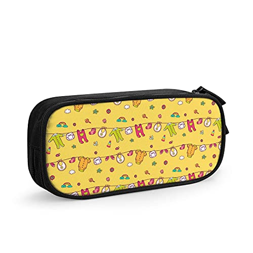 Cartoon Baby Clothes Shoes Rainbow Toy Double-Layer Zipper Stationery Bag Large Capacity Storage Bag Pencil Case Simple Stationery Bag Strong And Wear-Resistant