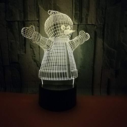 Yujzpl 3D-illusielamp Led-nachtlampje, USB-aangedreven 7 kleuren Knipperende aanraakschakelaar Slaapkamer Decoratie Verlichting voor kinderen Kerstcadeau-Sneeuwpop knuffelen