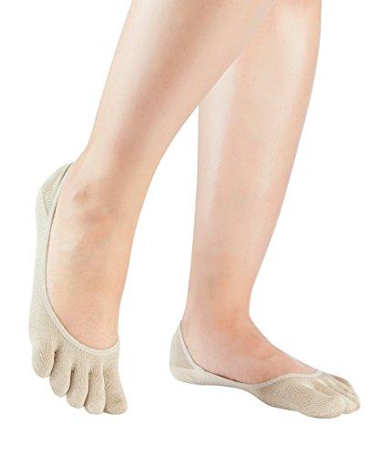 Knitido Damen Seiden-Füßlinge Silkroad Footlets, Zehen-Füßlinge aus Seide, Größe:39-42, Farbe:Beige (007)