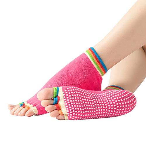 cinnamou Yoga Socken Ballettsocken Tanzende Socken Rutschfeste Socken Damen Toe Sox Zehensocken mit 5 Zehen Kickboxing Pilates 5 Finger Socken Yoga Socken Anti Rutsch Socken Ballett Bodensocken