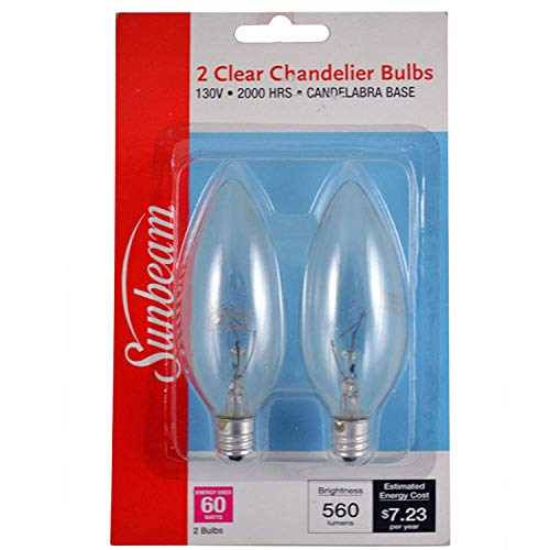 Sunbeam Light Bulb Clear, Chandelier, 60wt, 2pk