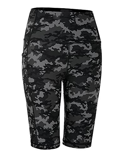 CRZ YOGA Pantalones Cortos de Motociclista con Bolsillos - 20/25 cm Pantalones Cortos de Yoga Cintura Alta Camo Multi 1 38