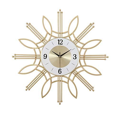 SWNN Relojes de Pared Continental Hierro Personalidad Creativa Reloj De Pared Reloj De Pared De La Sala En Forma De Reloj De Oro Decorativo Mesa Colgante 60cm * 60cm * 5cm
